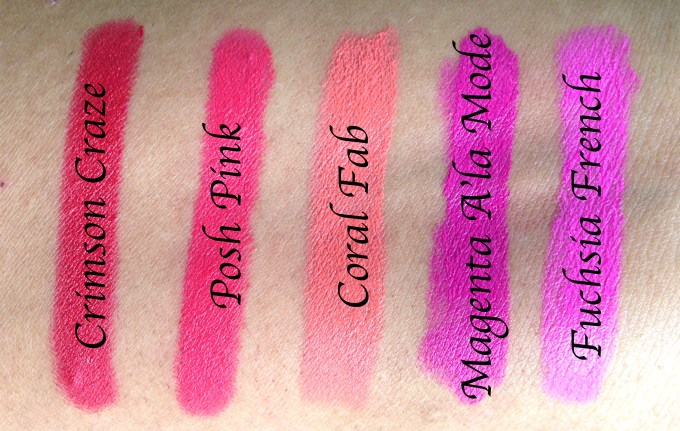 All Lotus Ecostay Crème Lip Crayon Lipsticks Shades Review, Swatches L to R Crimson Craze, Posh Pink, Coral Fab, Magenta A'La Mode, Fuchsia French