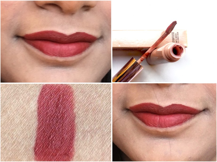 Lakme Burgundy Lush 9 to 5 Weightless Matte Mousse Lip Cheek Color Review, Swatches on Lips
