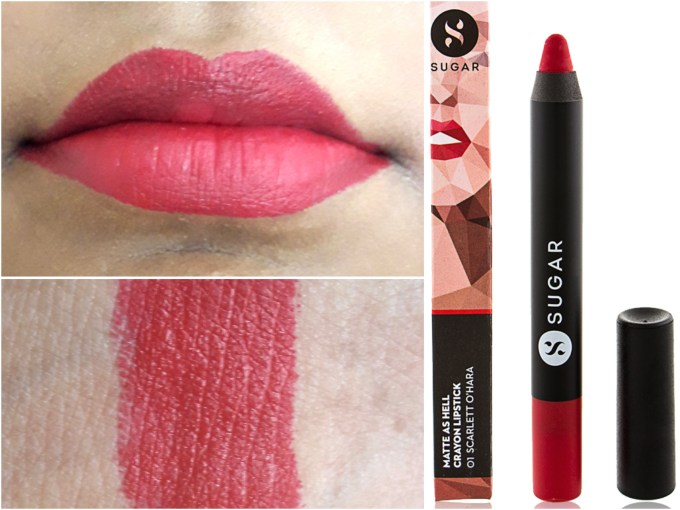 SUGAR Matte As Hell Crayon Lipstick Scarlett O'Hara 01 Review Swatches