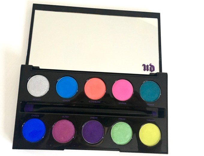 Urban Decay Electric Pressed Pigment Eyeshadow Palette Review Swatches Closeup