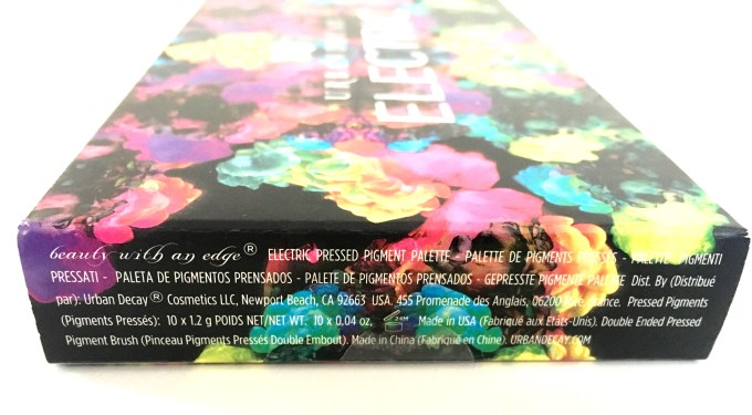 Urban Decay Electric Pressed Pigment Eyeshadow Palette Info