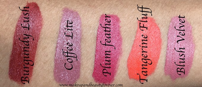 All Lakme 9 to 5 Weightless Matte Mousse Lip & Cheek Color Shades Review Swatches Burgundy Lush, Coffee Lite, Plum Feather, Tangerine Fluff, Blush Velvet