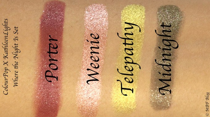 ColourPop KathleenLights Where The Night Is Super Shock Shadow Set Review, Swatches Skin