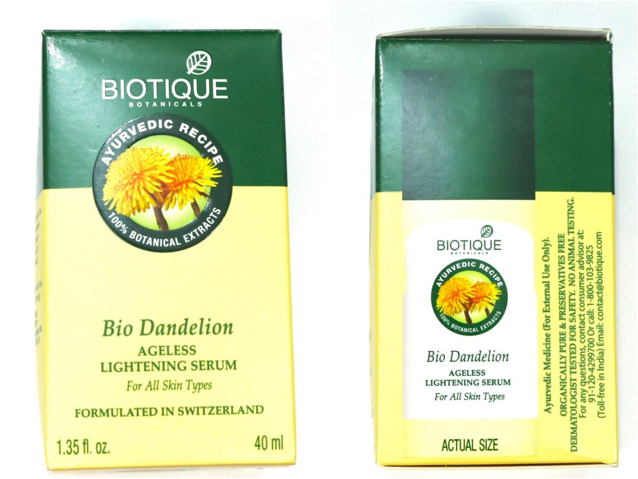 Biotique Bio Dandelion Ageless Lightening Serum Review, Swatches Front Side
