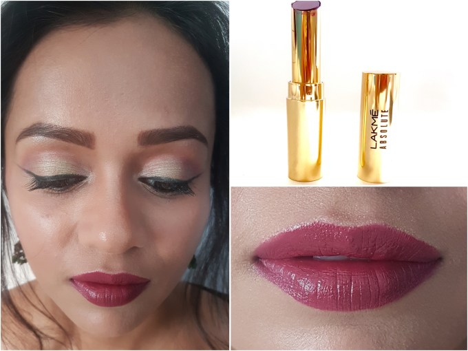 Lakme Absolute Argan Oil Lip Color Juicy Plum Review, Swatches Close Up MBF Makeup Look