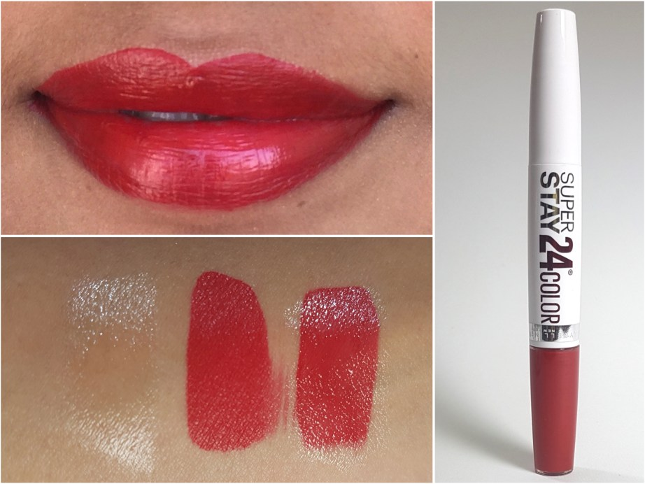 Maybelline Superstay 24 Color 2 Step Lipstick Keep It Red 035 Review, Swatches