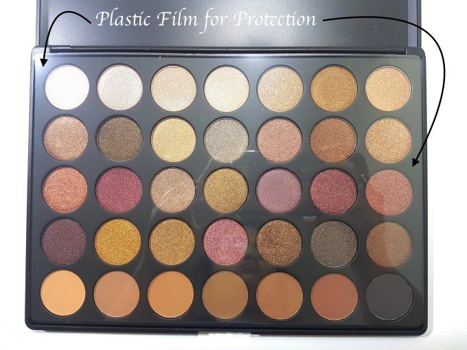 Morphe 35F Fall Into Frost Palette Review, Swatches plastic packaging