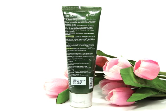 Organic Harvest 3 In 1 Face Wash Review, Swatches back label