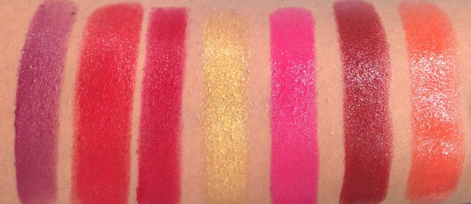 All L'Oreal Color Riche Gold Obsession Lipsticks 7 Shades Review, Swatches Plum Gold, Rouge Gold, Scarlet Gold, Le Gold, Rose Gold, Mocha Gold, Coral Gold HD