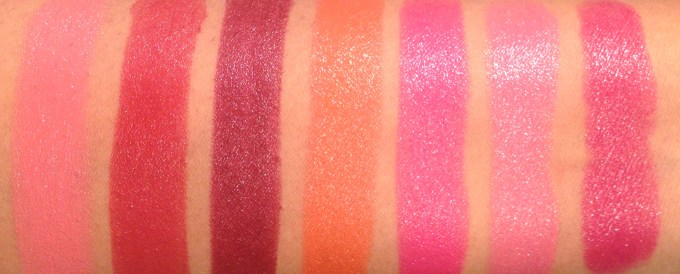 All Lakme Absolute Argan Oil Lip Color Lipsticks 15 Shades Review, Swatches Juicy Plum, Dewy Orange, Lush Rose, Silky Blush, Pink Satin MBF Blog