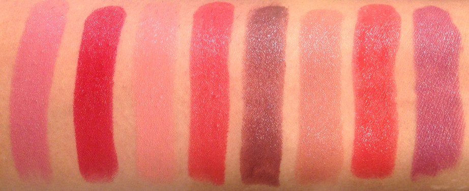 All Lakme Absolute Argan Oil Lip Color Lipsticks 15 Shades Review, Swatches Soft Mauve, Crimson Silk, Soft Nude, Ruby Velvet, Deep Brown, Buttery Caramel, Drenched Red, Soaked Berries MBF Blog