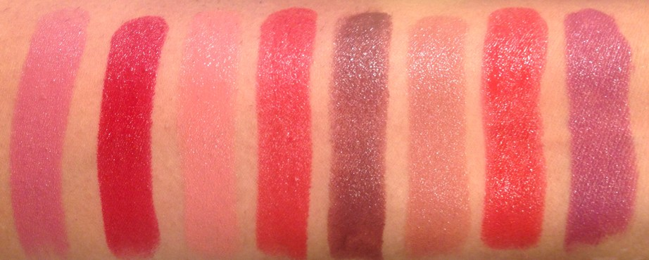 All Lakme Absolute Argan Oil Lip Color Lipsticks 15 Shades Swatches Soft Mauve, Crimson Silk, Soft Nude, Ruby Velvet, Deep Brown, Buttery Caramel, Drenched Red, Soaked Berries