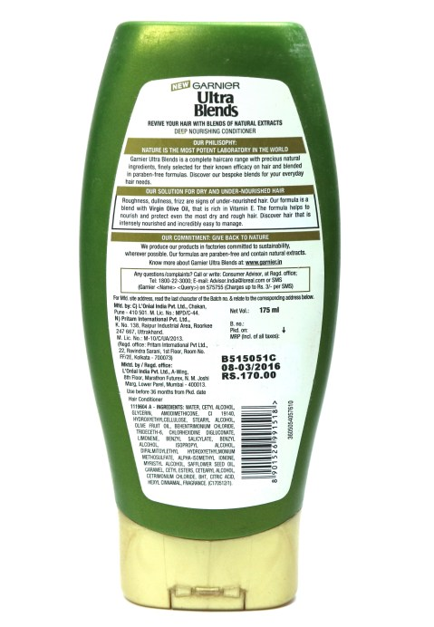 Garnier Ultra Blends Mythic Olive Conditioner Review Details
