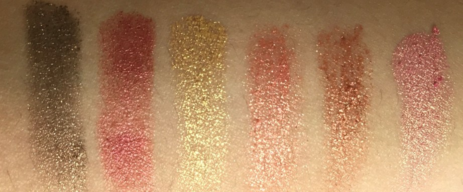 Huda Beauty Rose Gold Textured Shadows Palette Review, Swatches 1st Row