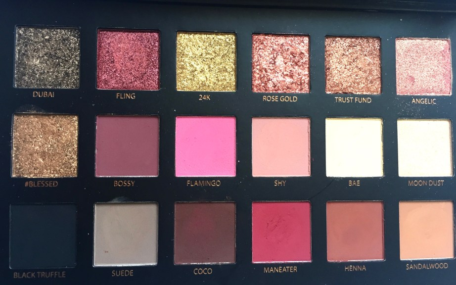 Huda Beauty Rose Gold Textured Shadows Palette Review, Swatches Closeup