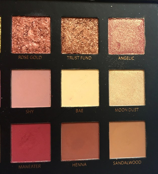 Huda Beauty Rose Gold Textured Shadows Palette Review, Swatches Right half