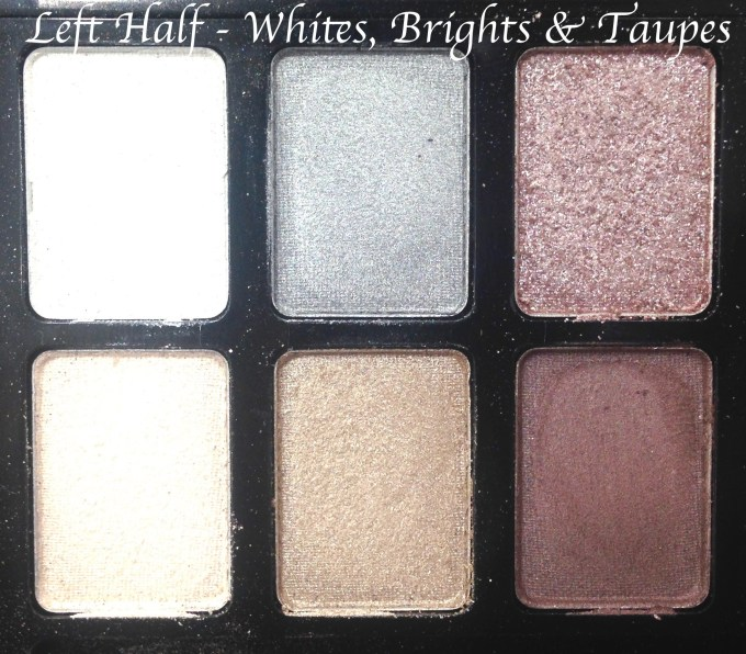 Maybelline The Rock Nudes Eye Shadow Palette Review, Swatches Left Half