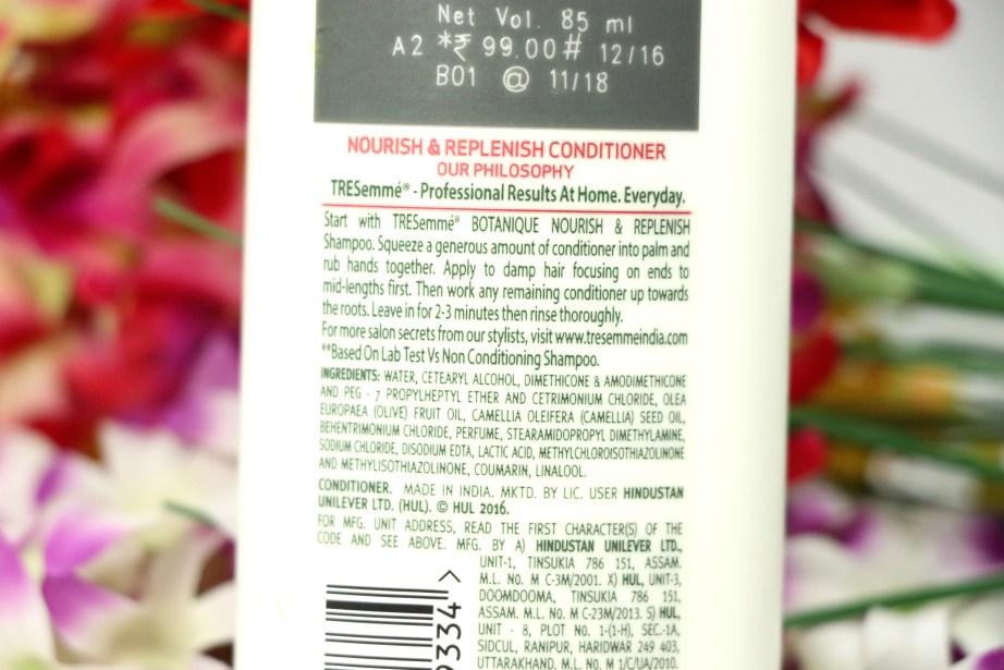 TRESemmé Botanique Nourish & Replenish Conditioner Review Ingredients