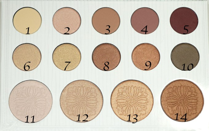 BH Cosmetics Carli Bybel Eyeshadow & Highlighter Palette Review, Swatches Closeup with Numbers