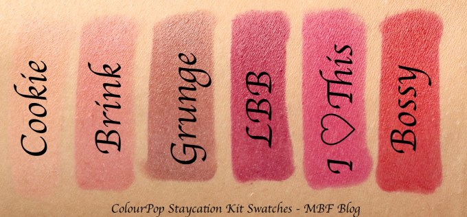ColourPop Staycation Matte Lippie Stix Kit Review, Swatches Cookie, Brink, Grunge, LBB, I Heart This, Bossy L to R