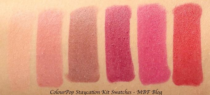 ColourPop Staycation Matte Lippie Stix Kit Review, Swatches Cookie Brink Grunge LBB I Heart This Bossy Skin