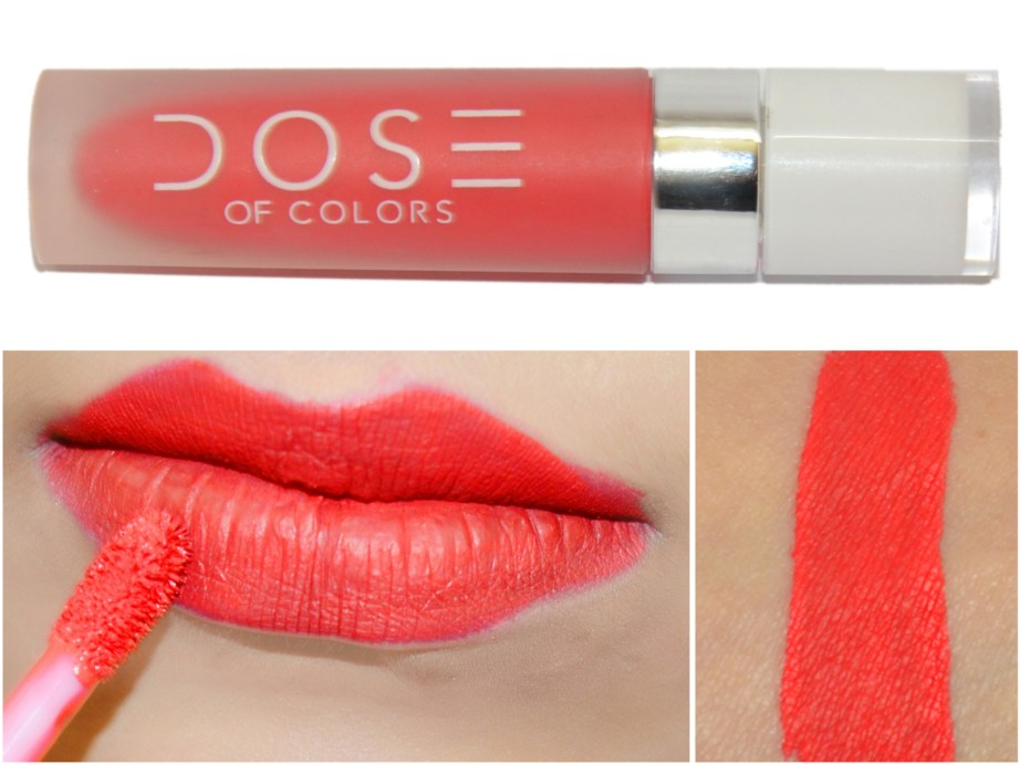 Dose of Colors Matte Liquid Lipstick Coral Crush Review, Swatches MBF