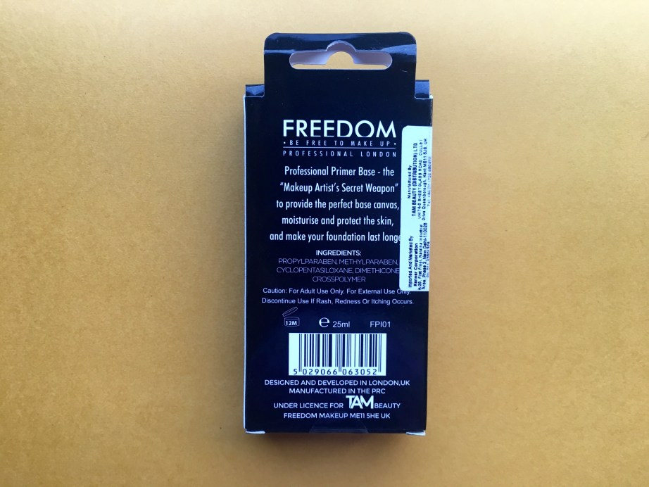 Freedom Pro Makeup Primer Review, Swatches back