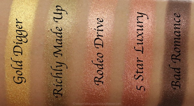 Morphe Pressed Pigments Swatches Gold Digger, Richly Made Up, Rodeo Drive, 5 Star Luxury, Bad Romance L to R