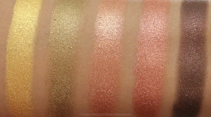 Morphe Pressed Pigments Swatches L to R Gold Digger, Richly Made Up, Rodeo Drive, 5 Star Luxury, Bad Romance