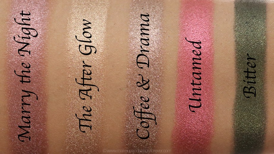 Morphe Pressed Pigments Swatches L to R Marry the Night, The After Glow, Coffee & Drama, Untamed, Bitter