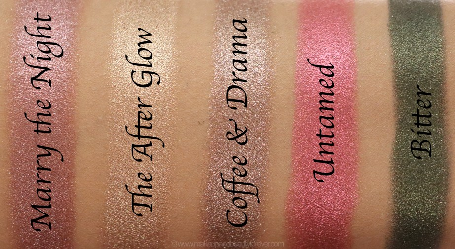 Morphe Pressed Pigments Swatches Marry the Night, The After Glow, Coffee & Drama, Untamed, Bitter skin