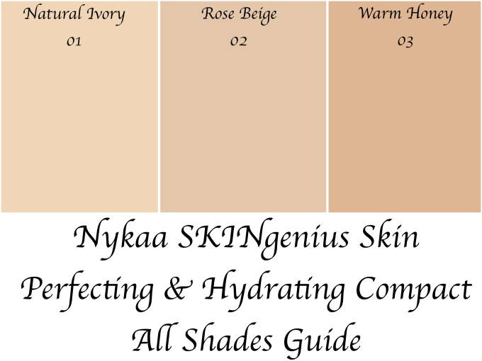 Nykaa SKINgenius Skin Perfecting & Hydrating Compact All Shades Guide Natural Ivory, Rose Beige, Warm Honey