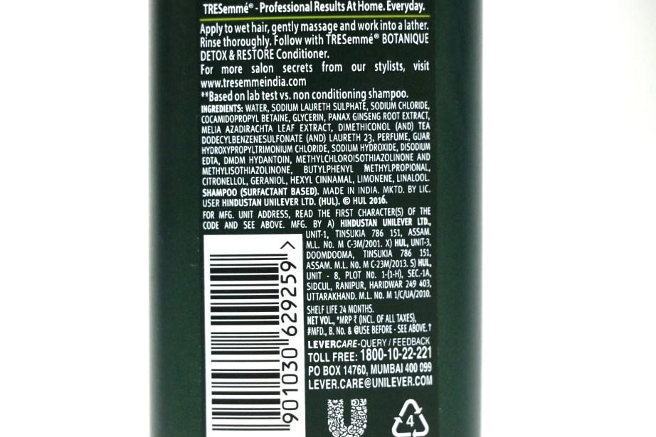 TRESemmé Botanique Detox & Restore Shampoo Review Ingredients