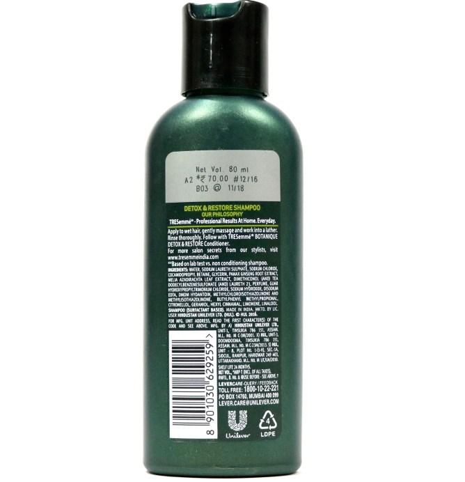 TRESemmé Botanique Detox & Restore Shampoo Review label details