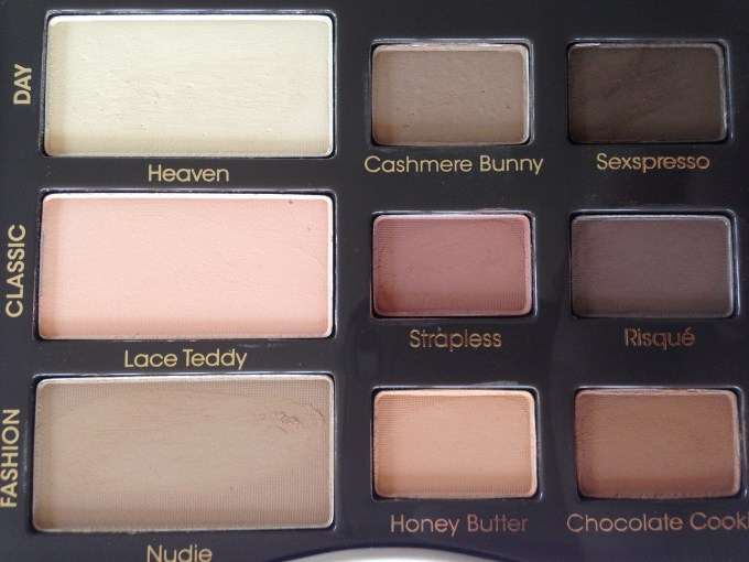 Too Faced Natural Matte Eyeshadow Palette Review, Swatches closeup