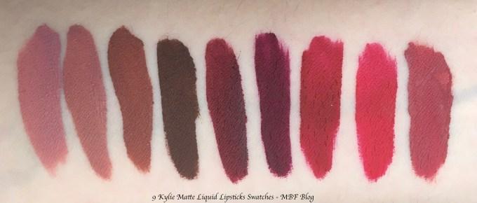 9 Kylie Matte Liquid Lipsticks Shades Review, Swatches Koko K, Candy K, Ginger, True Brown K, Leo, Kourt K, Merry, Mary Jo k, Kristen MBF Blog