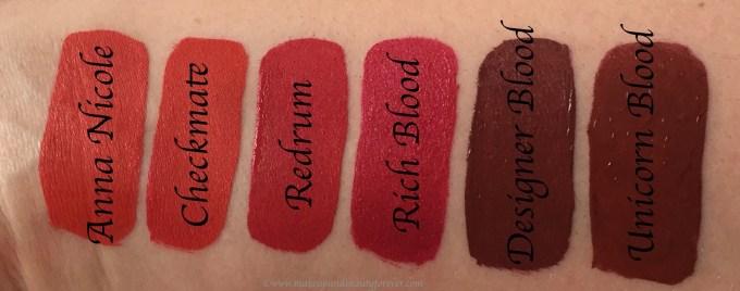 All Jeffree Star Velour Liquid Lipsticks Shades Review, Swatches Anna Nicole, Checkmate, Redrum, Rich Blood, Designer Blood, Unicorn Blood