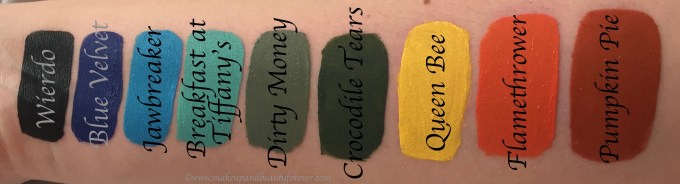 All Jeffree Star Velour Liquid Lipsticks Shades Review, Swatches Weirdo, Blue Velvet, Jawbreaker, Breakfast At Tiffany's, Dirty Money, Crocodile Tears, Queen Bee, Flamethrower, Pumpkin Pie
