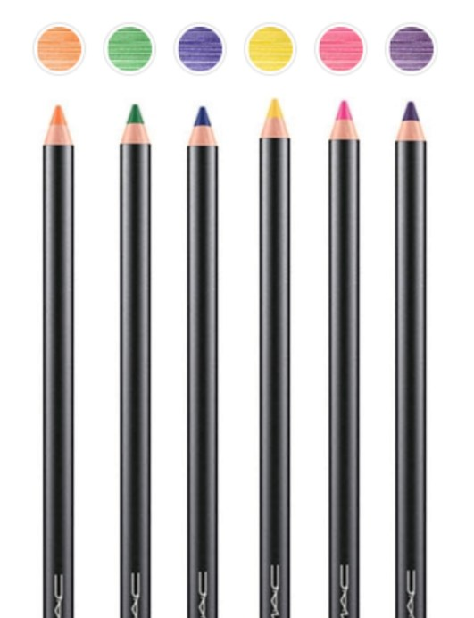 All MAC Work It Out Chromagraphic Pencils Shades Review, Swatches Landscape Green, Rich Purple, Process Magenta, Marine Ultra, Primary Yellow, Genuine Orange MBF Blog