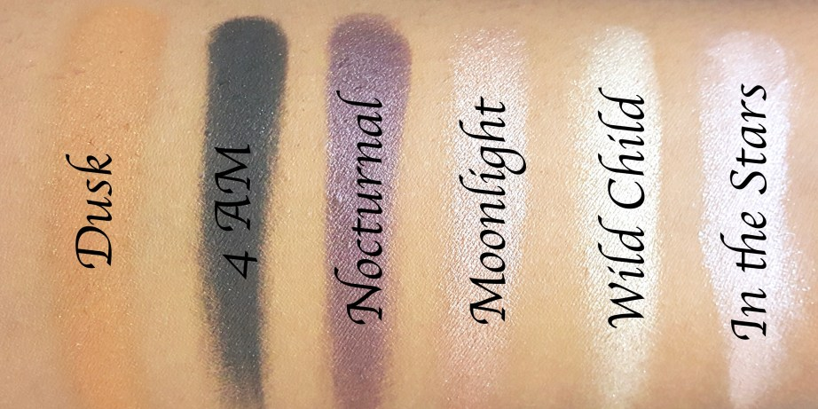 BH Cosmetics Illuminate Ashley Tisdale Night Goddess Palette Review, Swatches Top Row