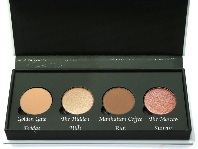 ColourPop Sonya Esman Gemini by Night Pressed Powder Shadow Palette Review, Swatches with names