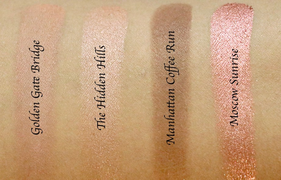 ColourPop Sonya Esman Gemini by Night Pressed Powder Shadow Palette golden gate bridge hidden hills manhattan coffee run moscow sunrise Review, Swatches L to R