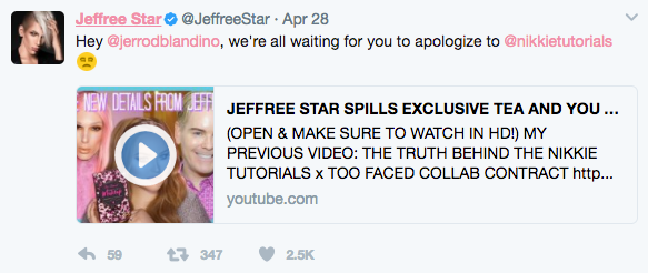 Jeffree Star confronts Too Faced Founder Jerrod Blandino for Tarte & NikkieTutorials 4
