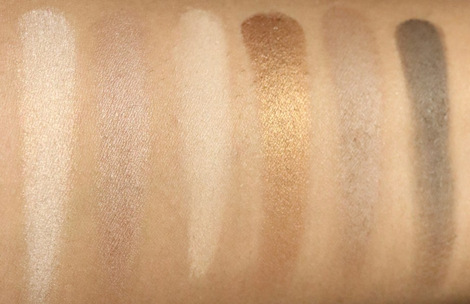 Maybelline The Nudes Eyeshadow Palette Review, Swatches top row MBF
