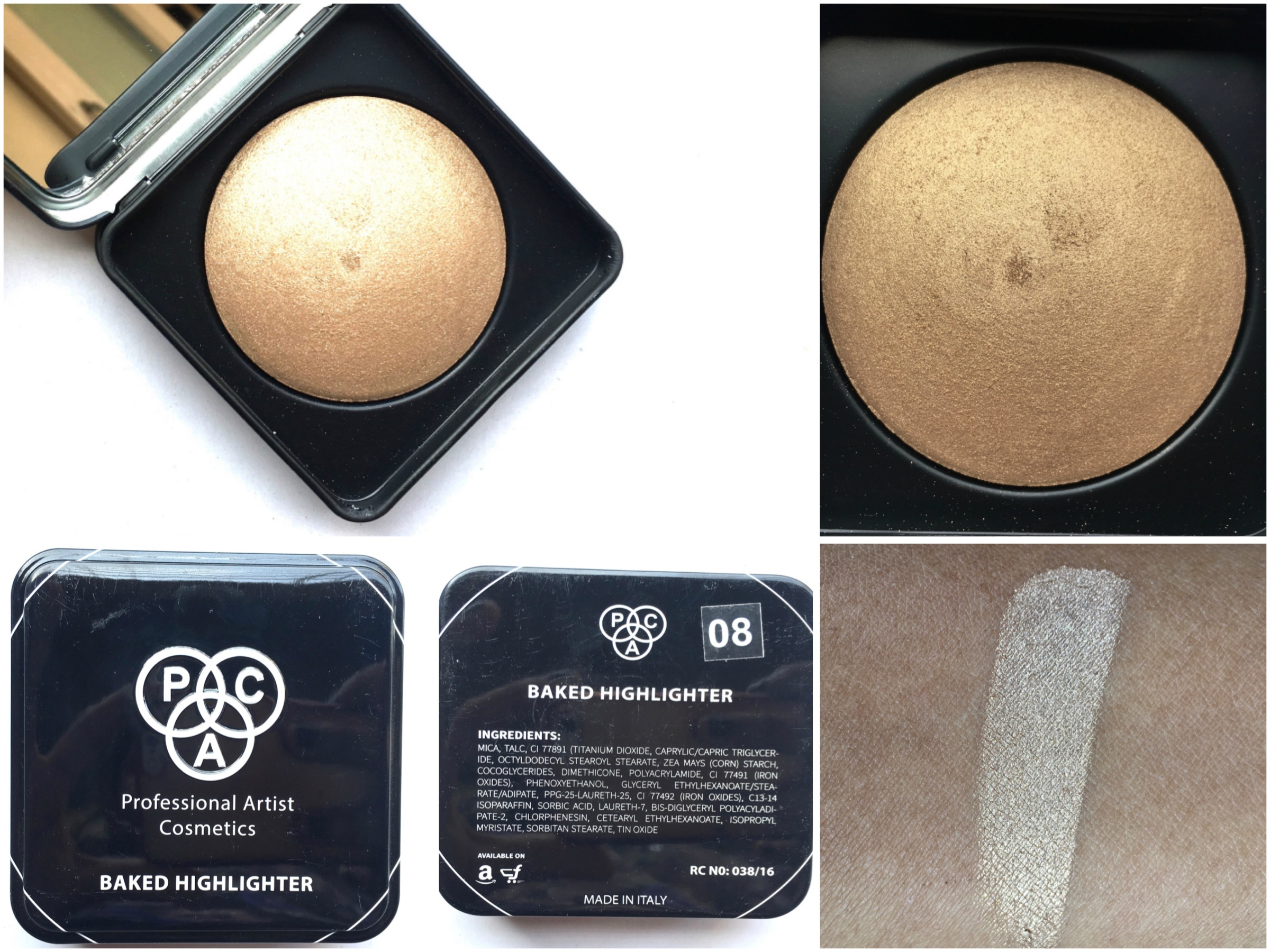 Pac Cosmetics Baked Highlighter 08 Review Swatches