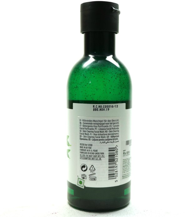 The Body Shop Tea Tree Skin Clearing Facial Wash Review Details
