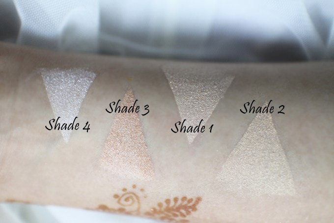 Faresat 4 in 1 Baking Powder Highlighter Palette Review, Swatches skin