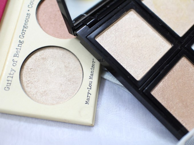 Faresat 4 in 1 Baking Powder Highlighter Palette Review, Swatches vs the balm mary loumanizer