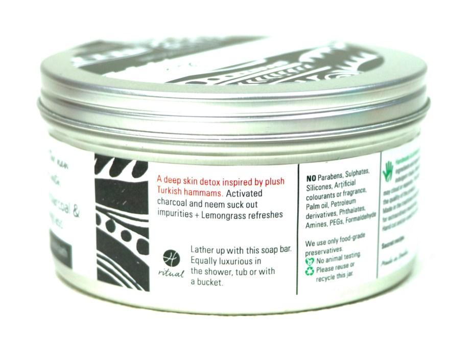 Hedonista Gourmet Black Bath Soap Review activated charcoal, neem, lemongrass