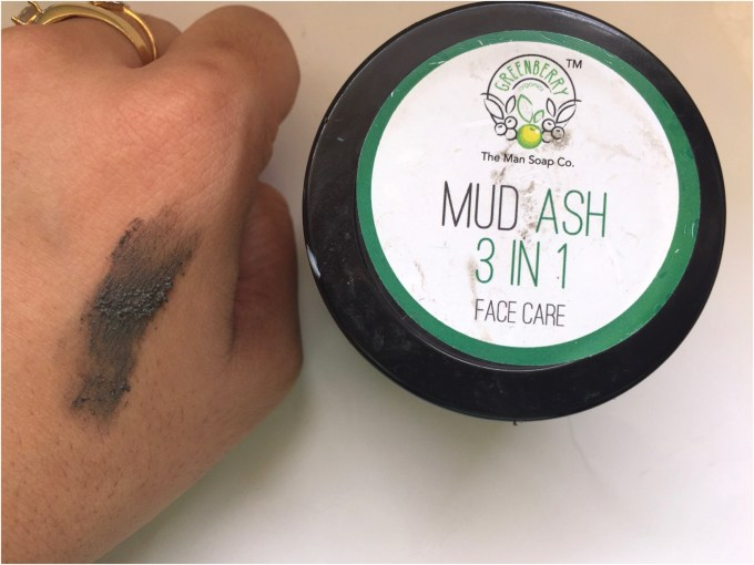Greenberry Organics Mud Ash 3 In 1 Cleanser, Scrub & Mask Review Swatch